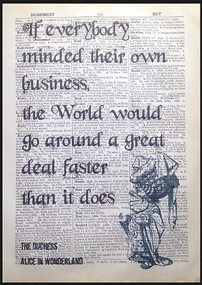 Alice In Wonderland Quote Vintage Dictionary Page Print Wall Art Picture Duchess