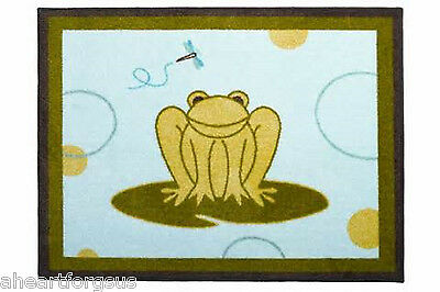 """AREA RUG GREEN FROG BEANSPROUT HOPPER LILY PAD UNISEX SOFT 100% COTTON 21x34"""""""