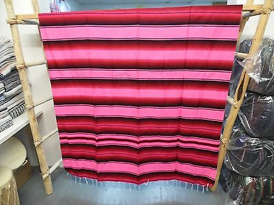SERAPE XXL,5'X7' , Mexican blanket, HOT ROD, Seat covers, MOTORCYCLE, Red & Pink