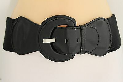 New Women Fashion Belt Hip High Waist Stretch Wide Black Buckle Plus Size M L XL