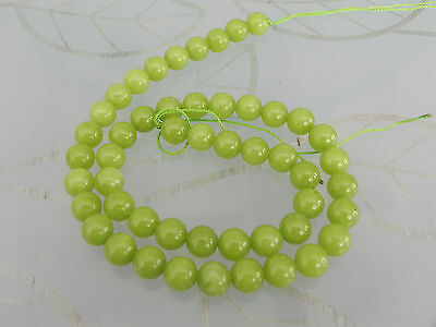1 16 inch Strand Malaysian Jade Light Green Beads Approx 50  Beads 8mm
