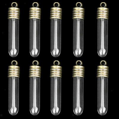 10 Mini Empty Glass Long Tube Vials Charms Wish Bottles Pendant Craft Gift