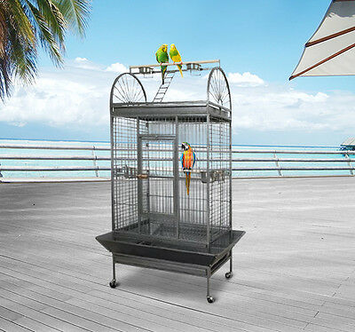 PawHut Bird Parrot Aviary Cage Coop Wire Mesh Breeding Large With Wheel NEW