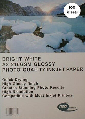 100 Sheets A3 Bright White 210gsm Photo Quality Glossy Inkjet Paper Neo Media