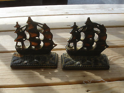 Old Vtg Cast Iron Sailing Ship Bookends Pair of Doorstop Brass Copper Tone