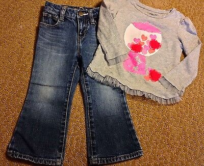 Baby Gap Size 2 Years Gray Bubble Gum Machine Shirt Top & Jean Pants Lot Outfit
