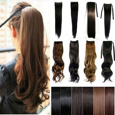 Real Natural Drawstring Ponytail  Clip In Hair Extension Extension Clip on Piece