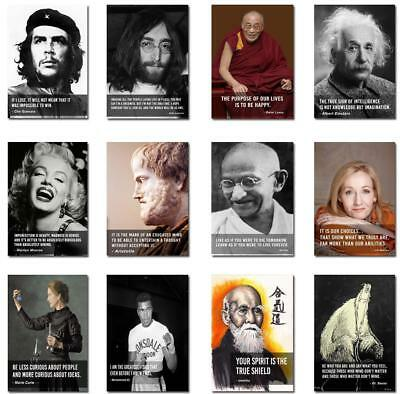 60 Most Inspirational Quotes  Geniuses and Inpiring People  Posters A4-A2 Sizes