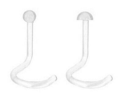 Pack of 2x Clear NOSE SCREW Retainers - Tiny 2mm Ball - Bioflex - 0.8mm
