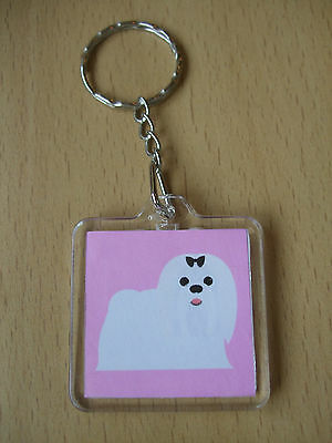 I Love My Maltese Keyring Dog Puppy Bag Charm Acrylic Pale Pink Handmade White