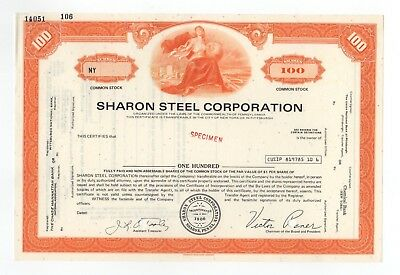SPECIMEN - Sharon Steel Corporation Stock Certificate
