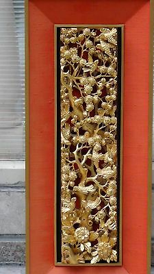 Antique Chinese Wood Carved Pierced Gilt Temple Panel Of Birds , Blossom Cherry