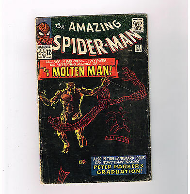 AMAZING SPIDER-MAN (v1) #28  Silver Age key issue! 1st MOLTEN MAN appearance!