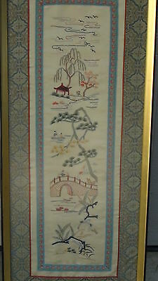 Antique Chinese Forbidden Stitches Silk Embroidery Of Village Near Water,Framed