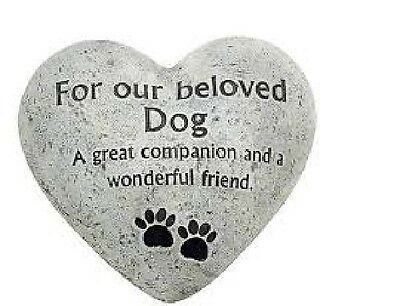 Graveside Memorial/Marker ~ Heart Plaque ~ Antique Stone Effect ~ CAT or DOG