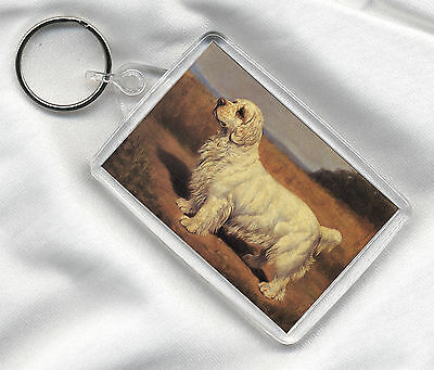 Key Ring With Clumber Spaniel Vintage Style Dog Print Image Insert
