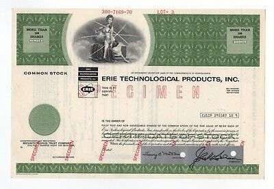 SPECIMEN - Erie Technological Products, Inc. Stock Certificate