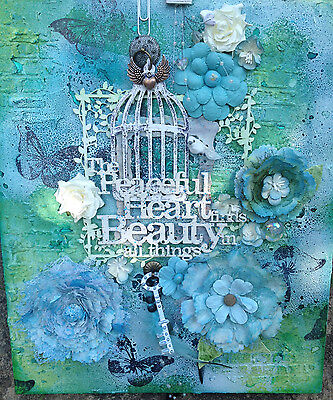 'Peaceful Heart' Mixed Media Canvas 30 x 40 cm Approx - Free p&p
