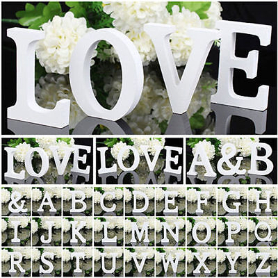 26 Freestanding White Wooden Letters Alphabet Bridal Wedding Party Decorations