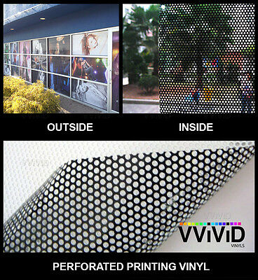 "Perforated mesh adhesive printing vinyl 10ft x 54"" VVIVID XPO window film decal"
