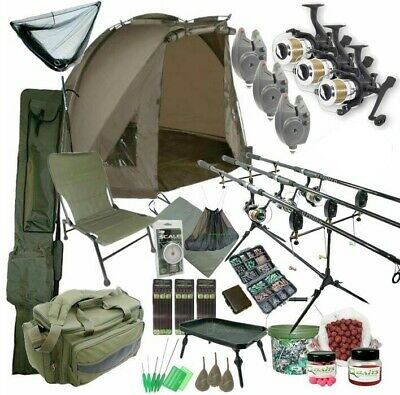 3 Rod Carp Set Up With Bivvy Tent. Carp Fishing Set. Rods Reels Bait Bag