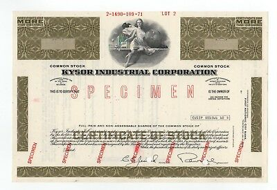 SPECIMEN - Kysor Industrial Corporation Stock Certificate