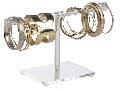 T-Bar Clear Acrylic Jewelry Display Bracelets Stand Chains Display Watch Rack