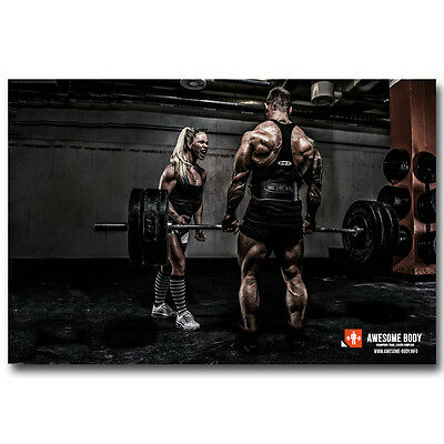 Bodybuilding Fitness Motivational Art Silk Poster 24x36 inch Gym Room Decoration