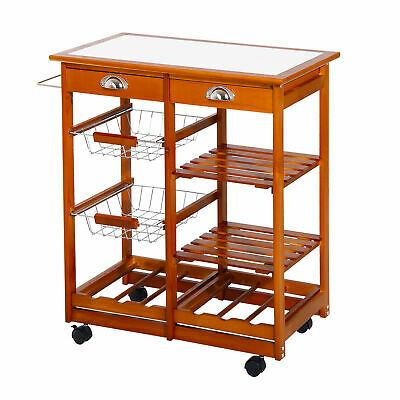 4 Tier Rolling Kitchen Trolley Cart Storage Drawer Buffet Table Wine Rack Wooden