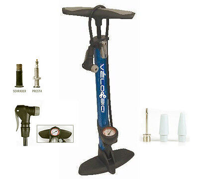 Velobici Alloy Bike Floor Pump Clever Valve  Gauge Blue High Pressure Bicycle Ai