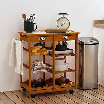 HOMCOM Rolling Kitchen Trolley Cart 4 Tier w/ Wine Rack 2 Drawers Basket Wood