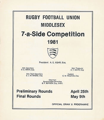 Middlesex Sevens Preliminary Rounds 1981 Rugby Programme