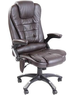 Kidzmotion brown leather high back reclining office chair with massage and heat