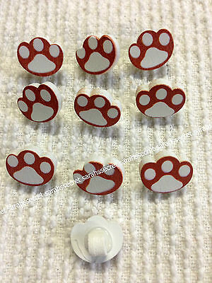 10 x DOG PAW WOODEN BUTTONS - 18mm - #B227