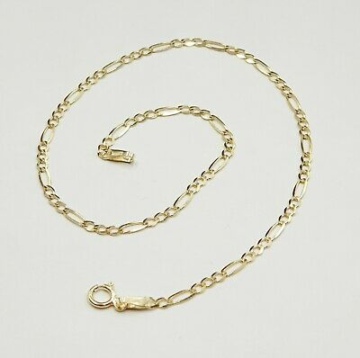 "NEW 9 Carat Yellow Gold Figaro Chain Anklet 10"" Long  1.4 grams"