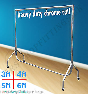 FULL CHROME HEAVY DUTY GARMENT RAIL CLOTHES HOME SHOP DISPLAY 3ft 4ft 5ft 6ft
