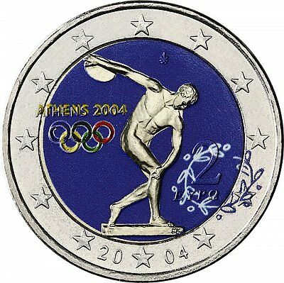 Griechenland 2 Euro 2004 stgl. Olympiade Athen in Farbe