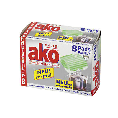 8er Pack ako Pads 2258.08 Ako-Pads Edelstahl Stahlwolle