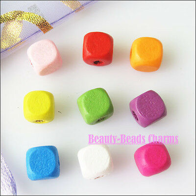150 New Mixed Charms Square Wood Spacer Beads for DIY Crafts 8mm