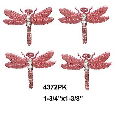 #4372LP Lot 4Pcs Purple\Silver Dragonfly Embroidery Iron On Applique Patch