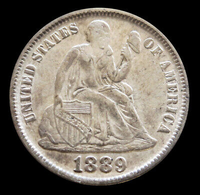 1889 Silver United States Seated Liberty Dime Coin Au Condition