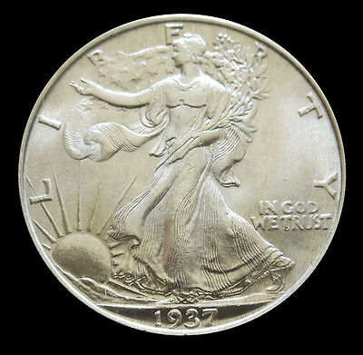1937 Silver Us Walking Liberty Half Dollar Coin Gem Uncirculated Condition