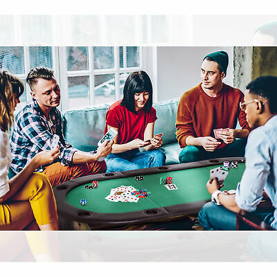 HOMCOM 200x90cm Foldable Poker Table Top 10 Players Blackjack Casino Cards