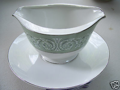 Antique Fine Porcelain China Cascade Gravy Boat With Attached Under Plate Signed