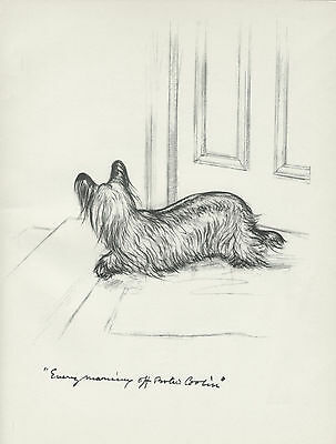 SKYE TERRIER WAITING FOR POSTMAN LOVELY OLD 1930'S DOG PRINT by VERNON STOKES
