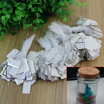 500x Strung Price Tag Ticket Label Jewelry Cloth Retail Gift Swing Silver Border
