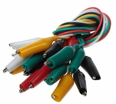 10x 10pc Meter Colored Insulating Test Lead Cable Double Ended Alligator Clips