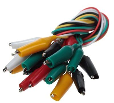 10pc Multi Color Insulating Test Lead Cable Set w/ Double Ended Alligator Clips