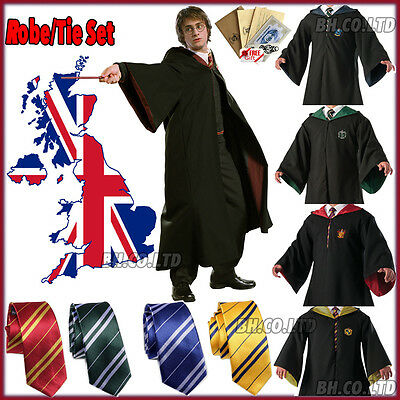 Harry Potter Costume Robe Cosplay Gryffindor/Slytherin/Ravenclaw Cloak Cape Tie