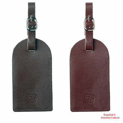 Go Travel - Labels For Luggage - Leather 2 Pack Suitcase Name & Address Labels